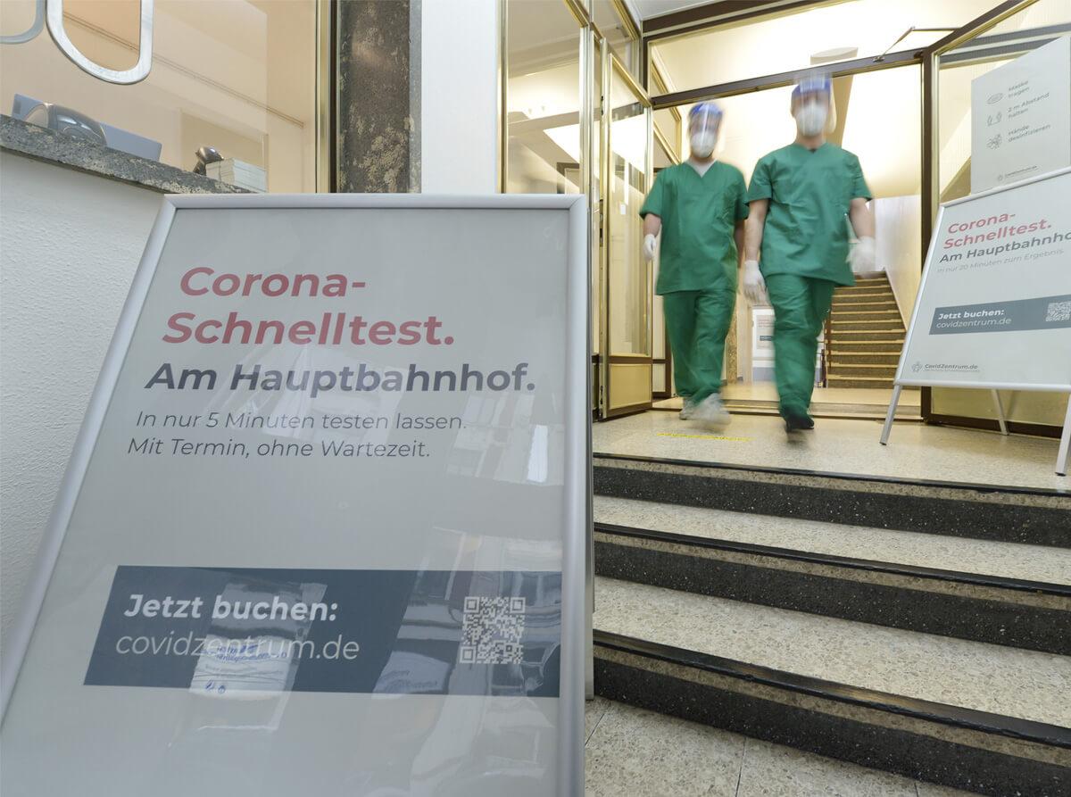 Bremen Corona-Schnelltest am Hauptbahnhof Covidzentrum